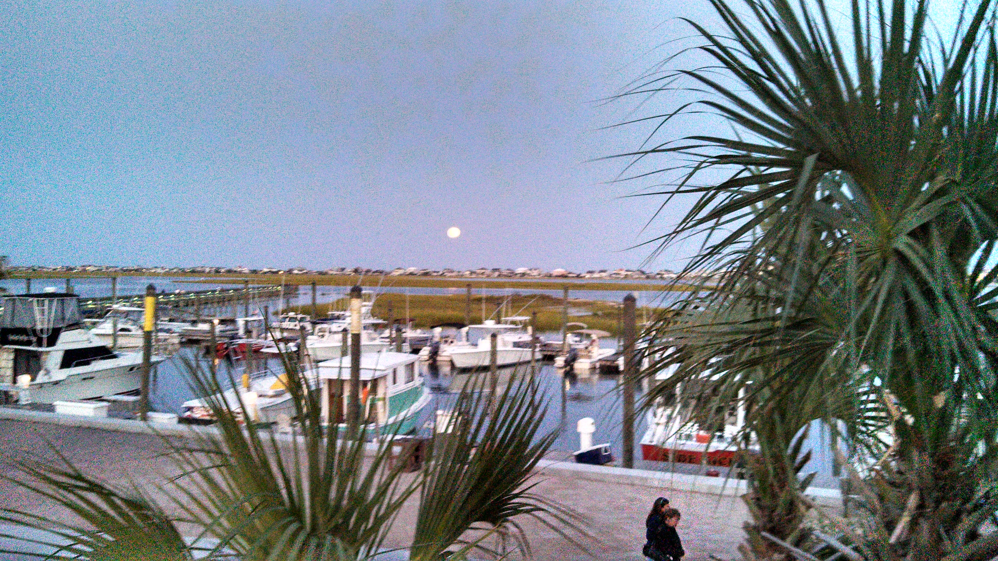 Beautiful view of the moon during dinner at Murrell's Inlet, SC.