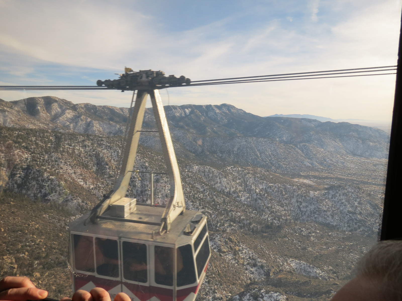 A Tram going down the Sandia Mountain