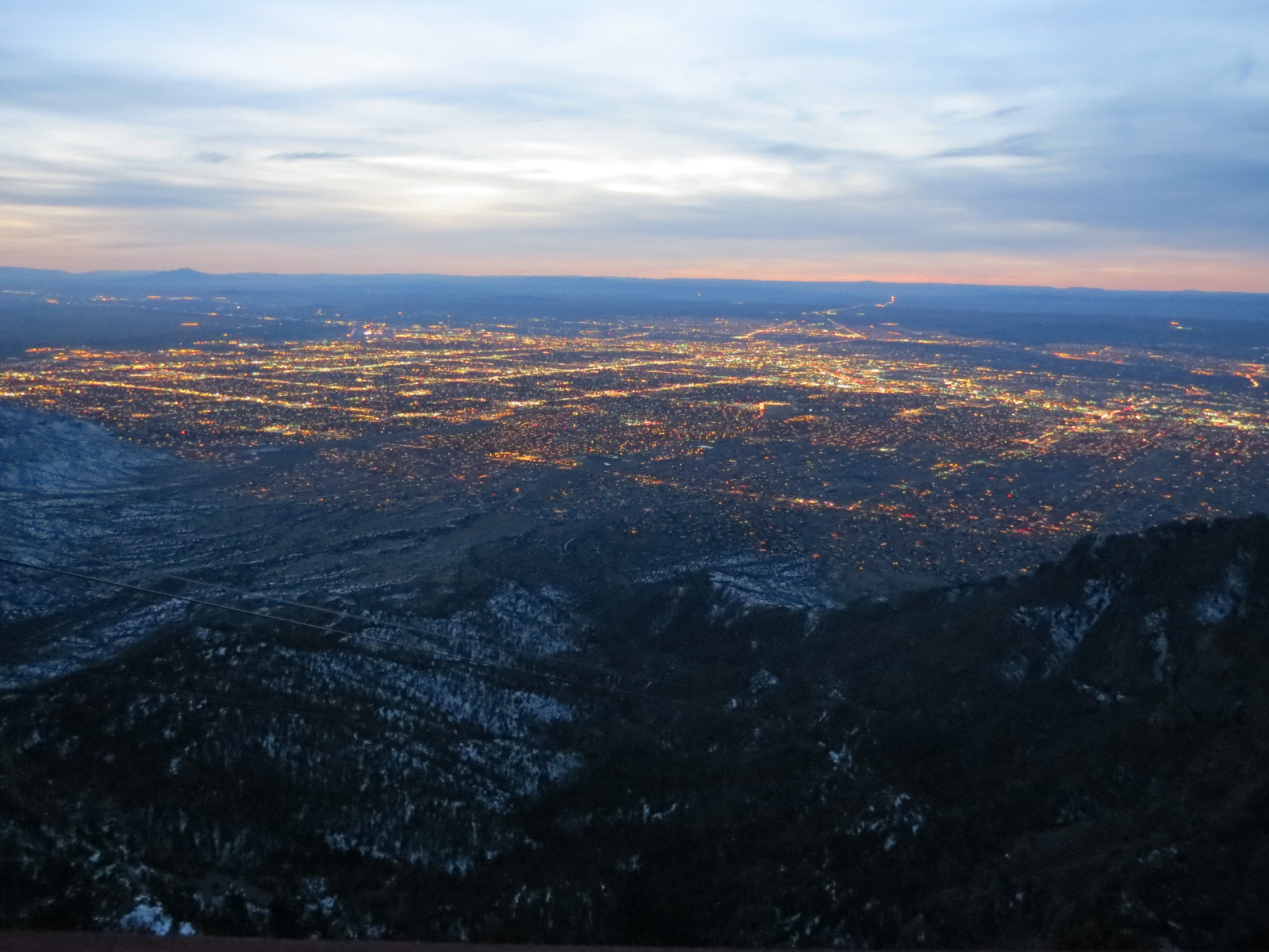 Night time looking down on Albuquerque
