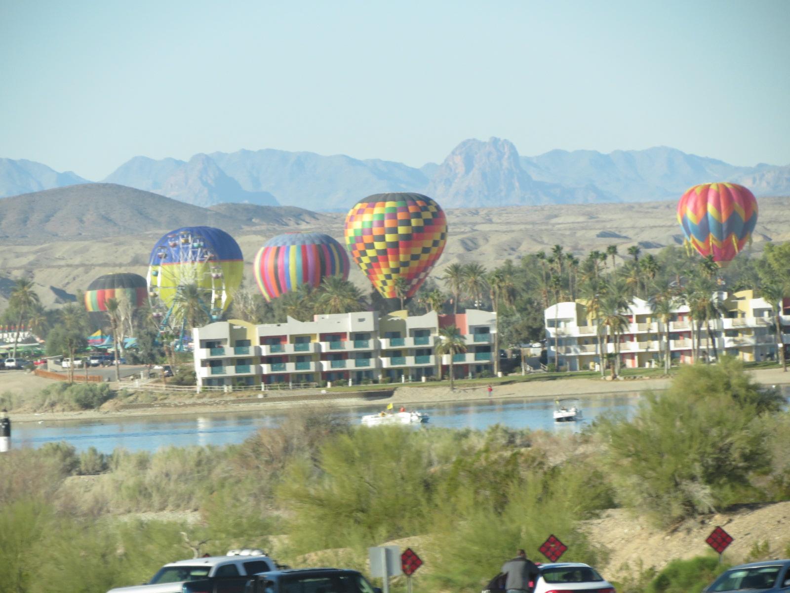 Hot Air Balloons landing after their morning flight.