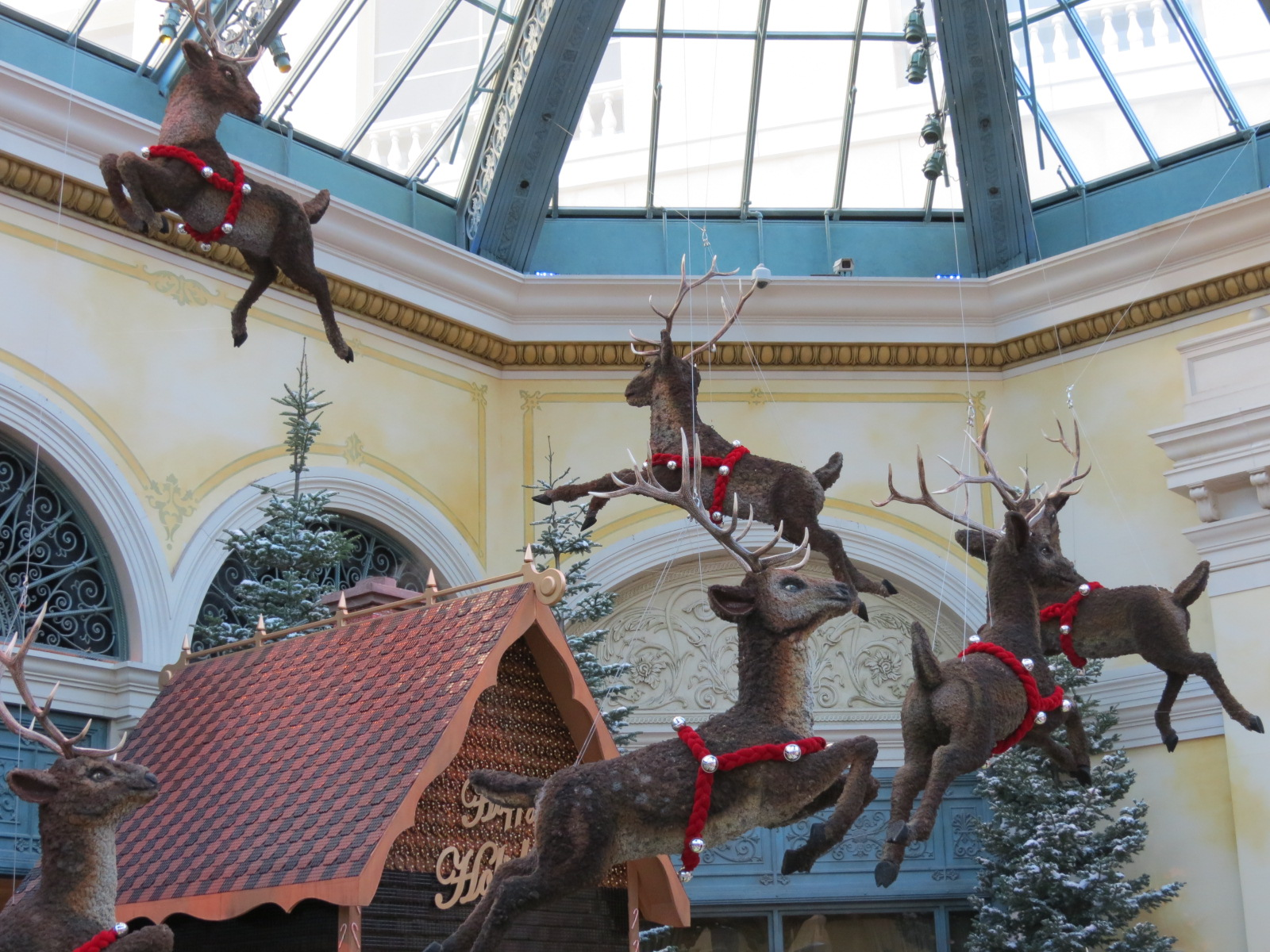 Santa's Raindeer flying in the Bellagio