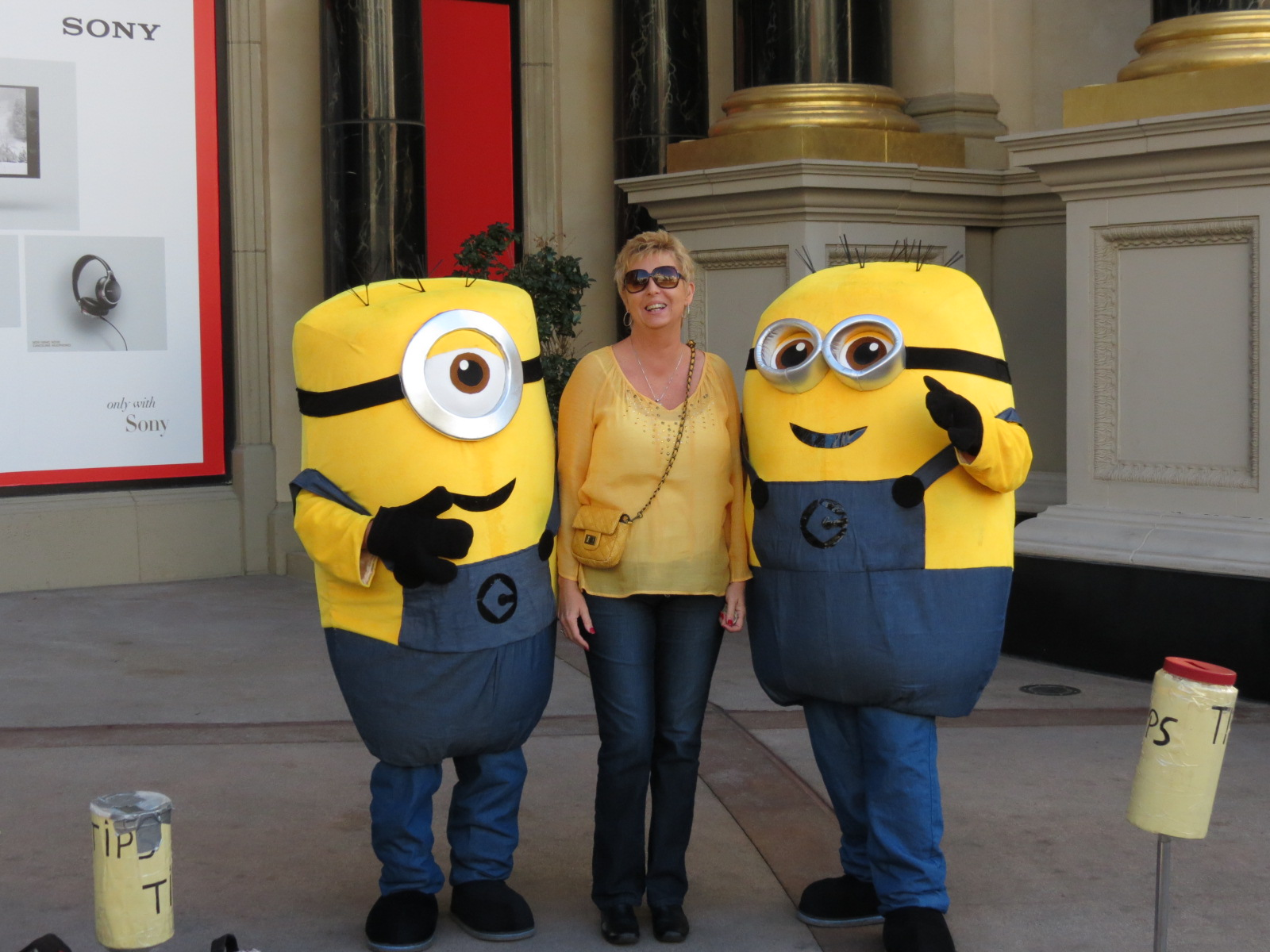 Picture with the Minions for my birthday!  They called me to be sure we all wore the same colors today!