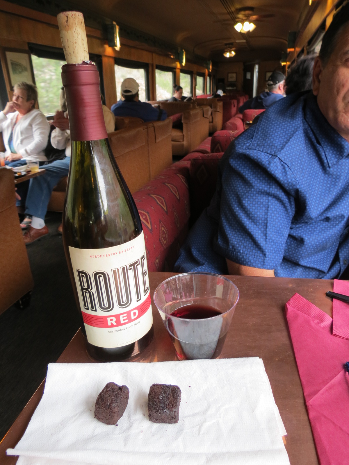 Our treat during the train ride.  Red wine & deep fried brownies.....YUM!
