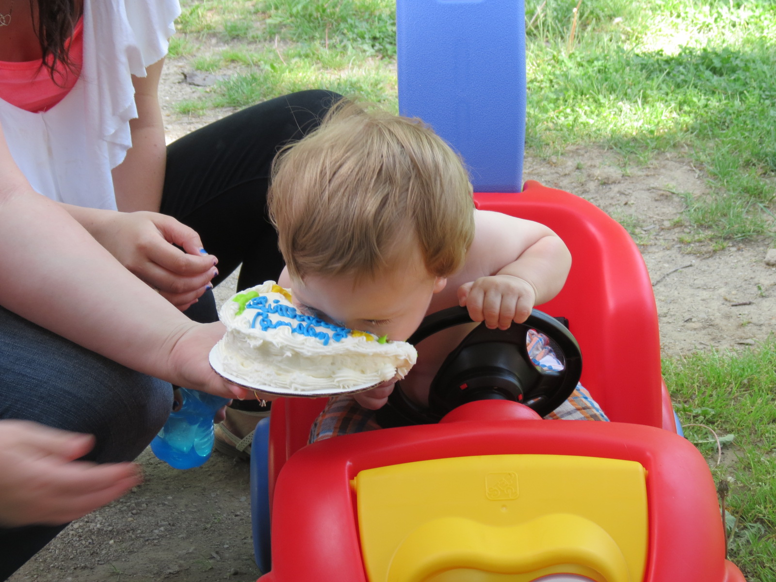 Unexpectedly, Camden decides to nose dive into his cake.