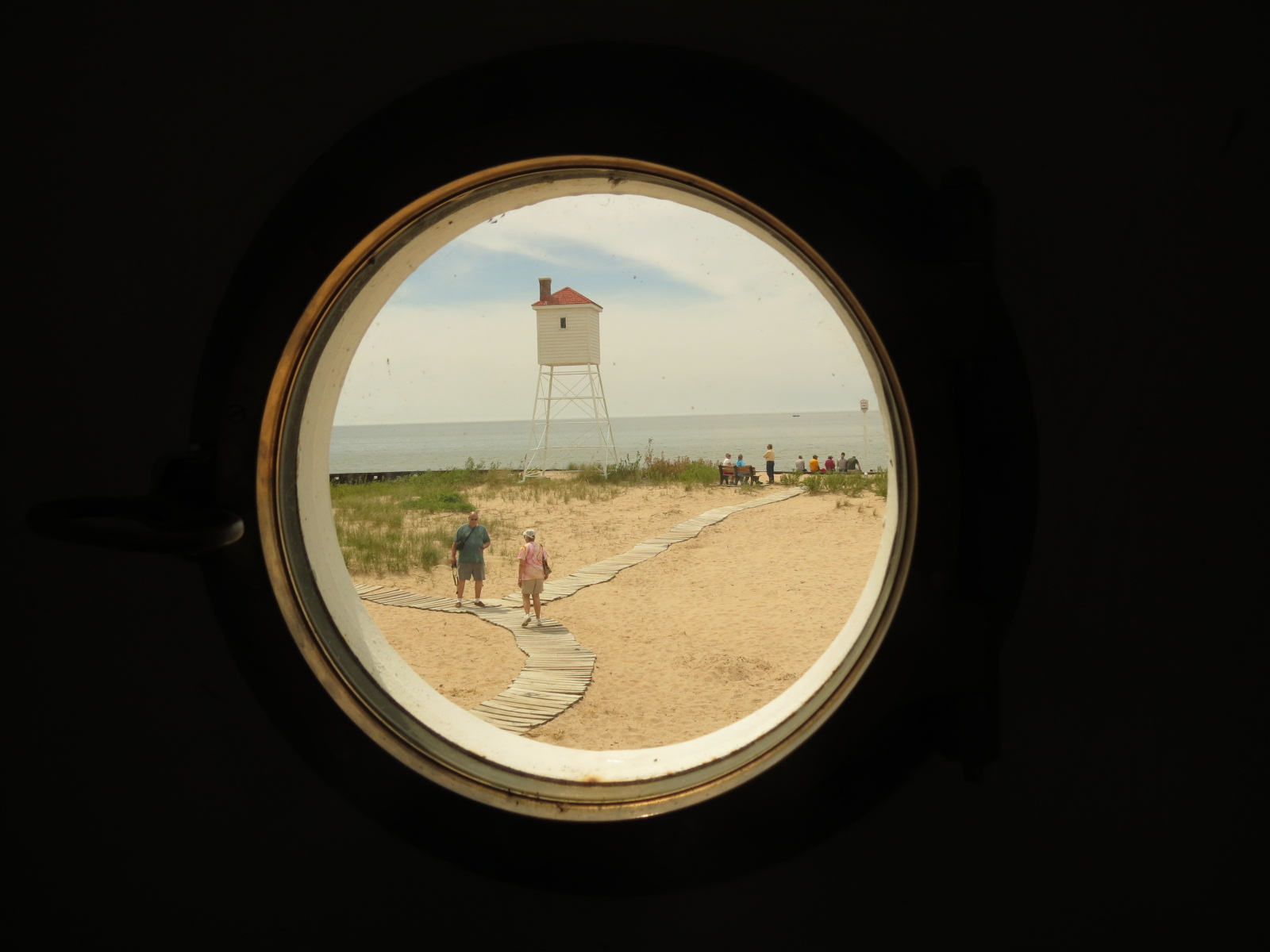 Looking out a lighthouse window