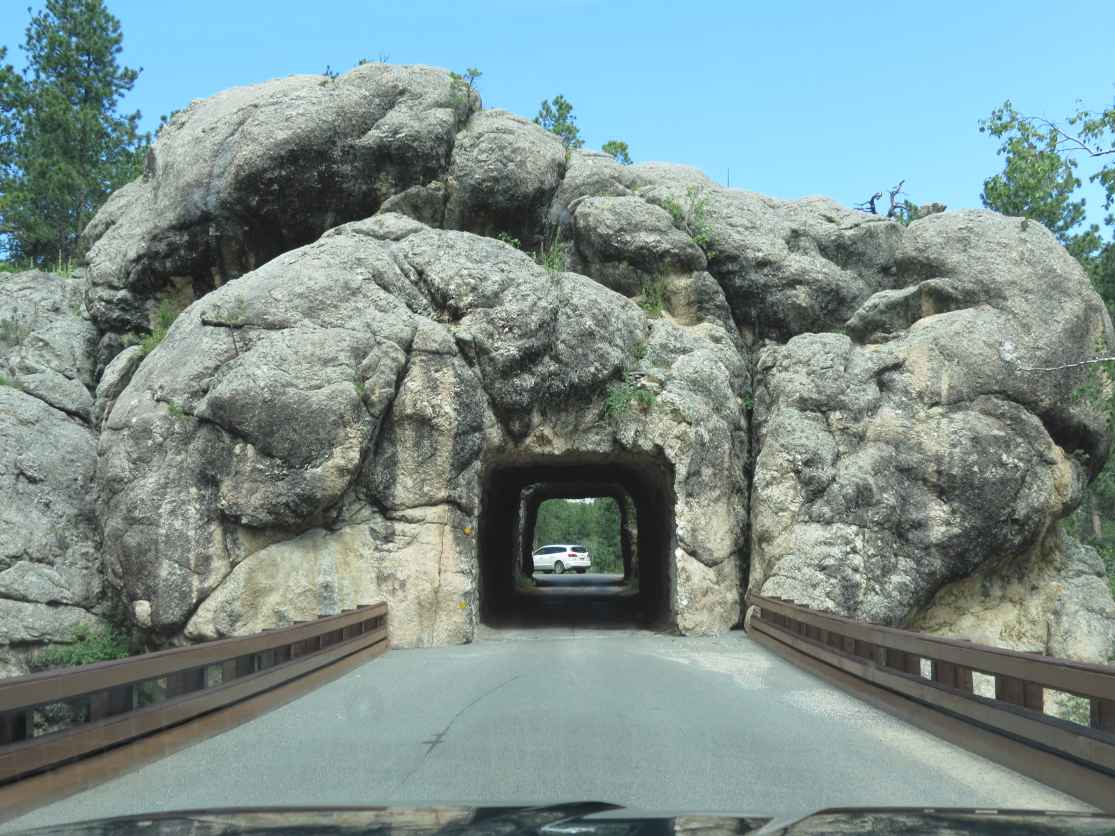Driving through tunnel in Custer State Park, SD