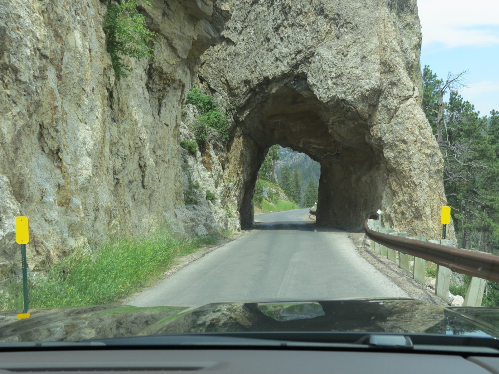 Driving thru tunnel in Custer State Park, South Dakota