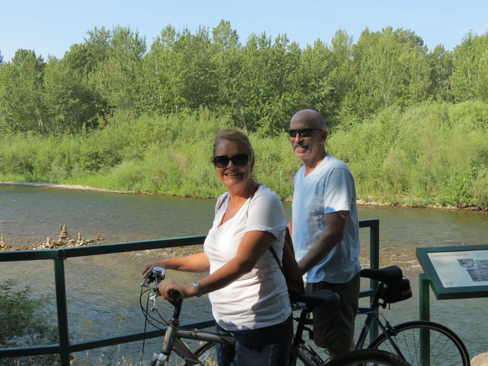 Tina & Bill biking on the Greenbelt in Boise