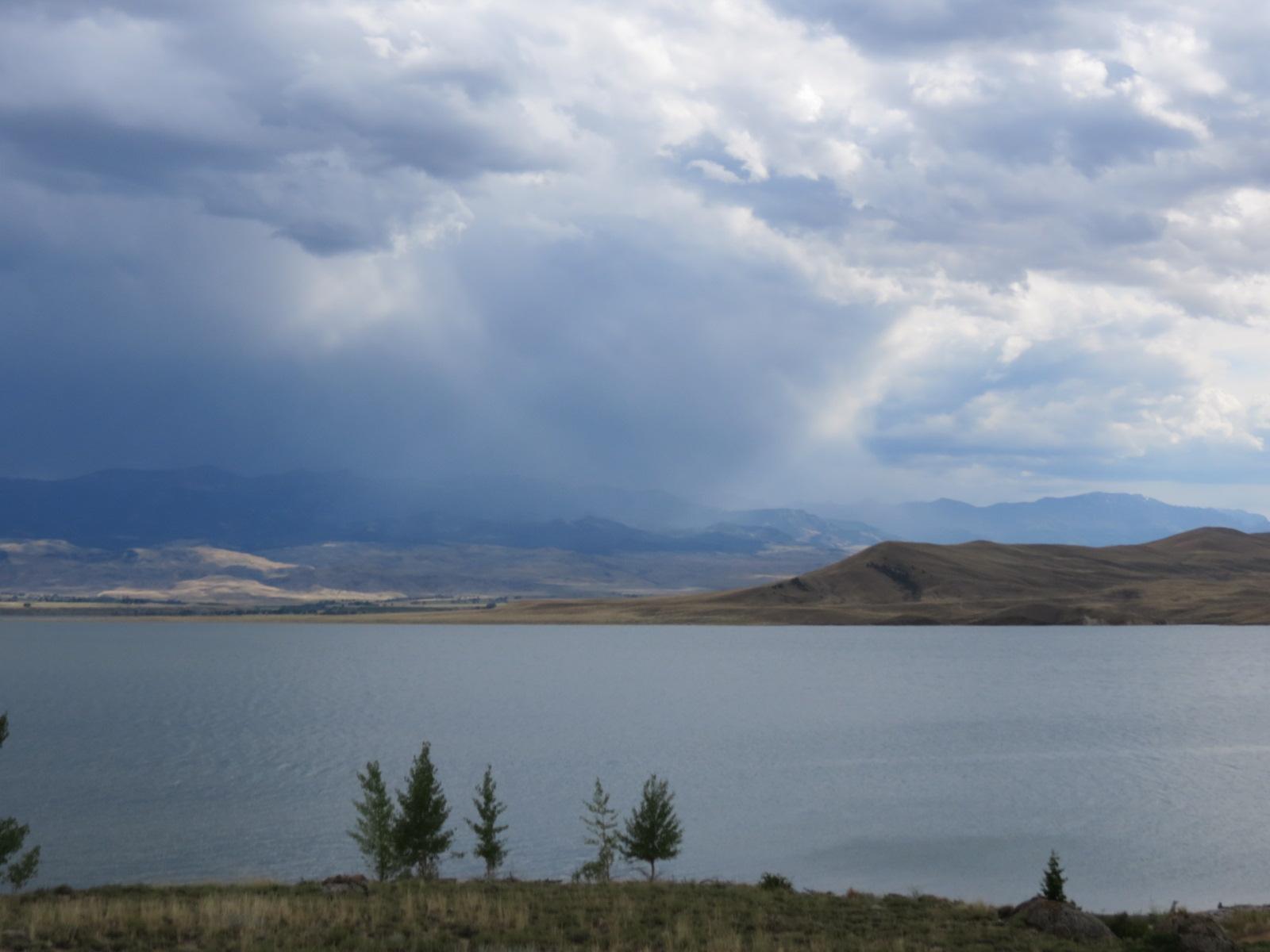 Storm coming across Buffalo Bill Dam on the Shoshone River
