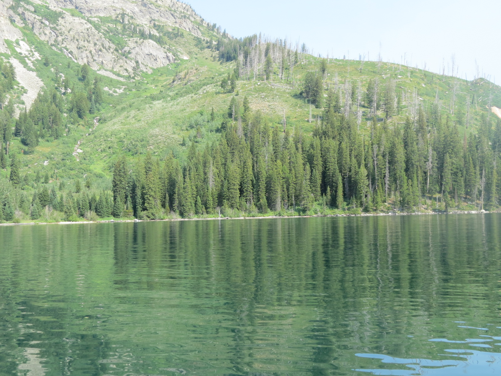On a ferry crossing Jenny Lake