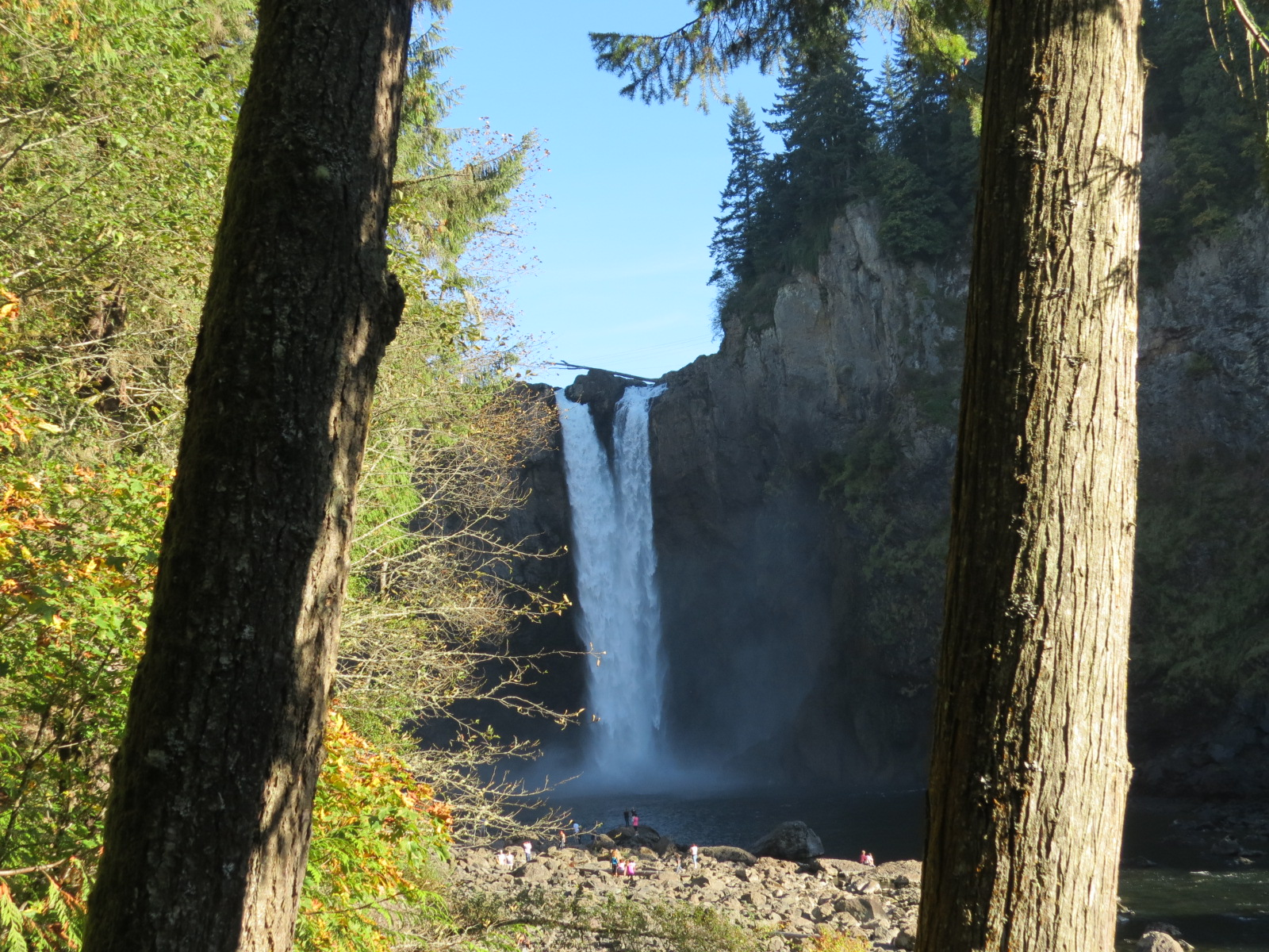 Lower river view of Snoqualmie Falls