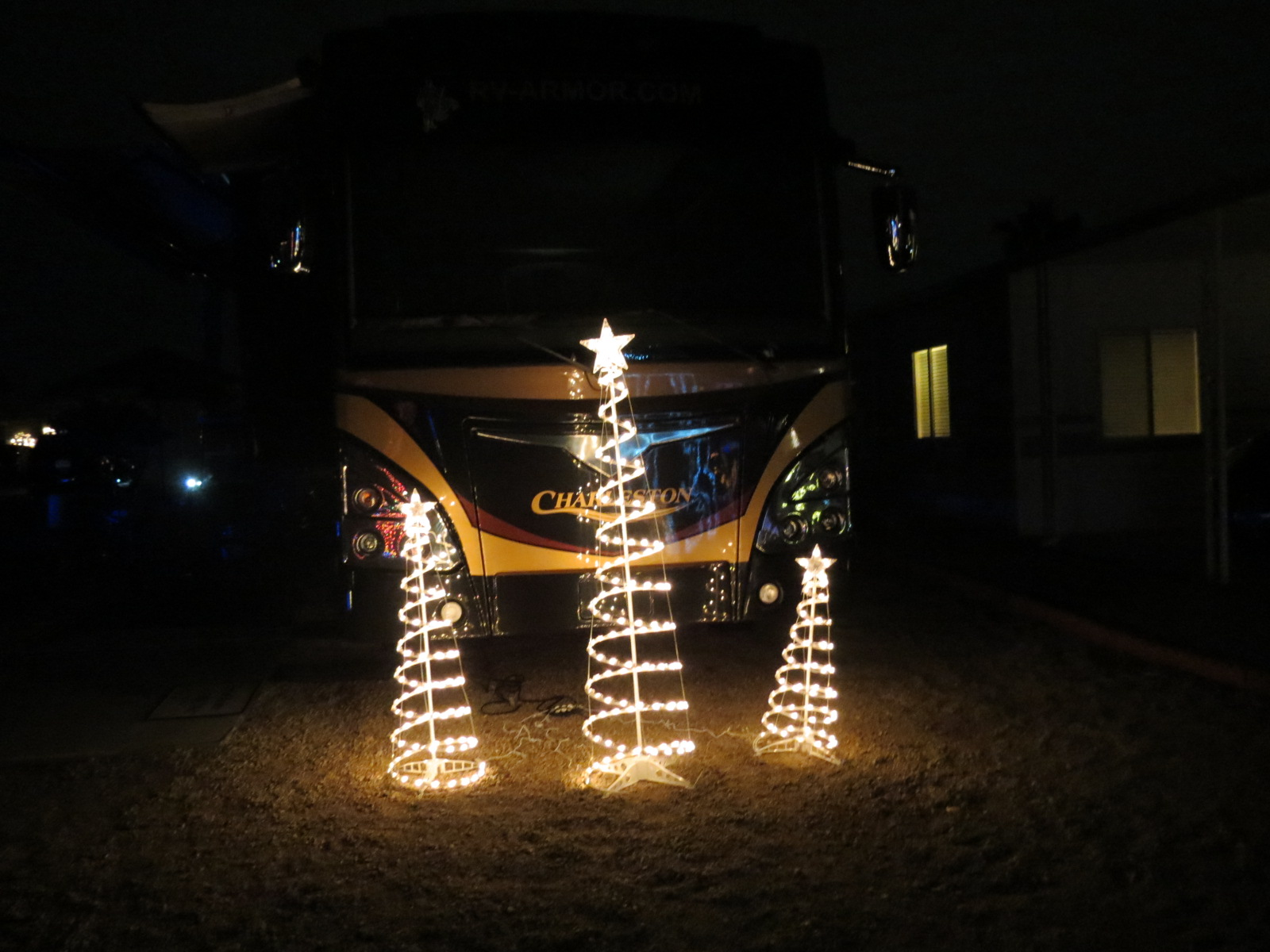 Our Christmas trees in front of RV